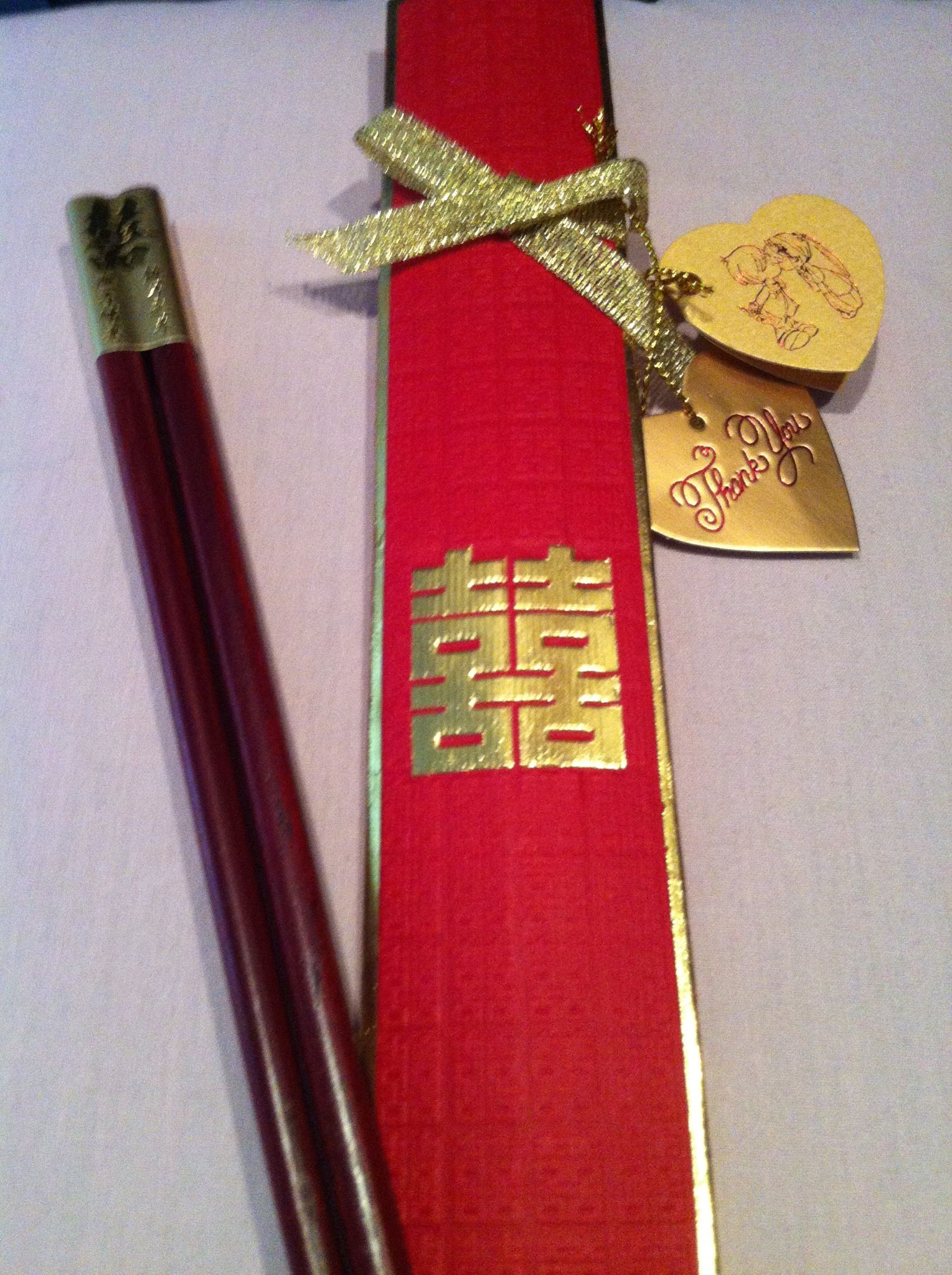 Chopsticks Favor From Chinese Wedding Reception Red Gold Double