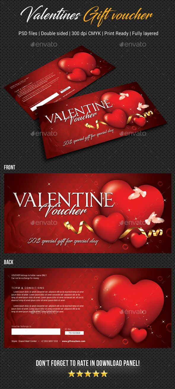 Valentines Gift Voucher V04 Print templates, Template and Fonts - fitness gift certificate template