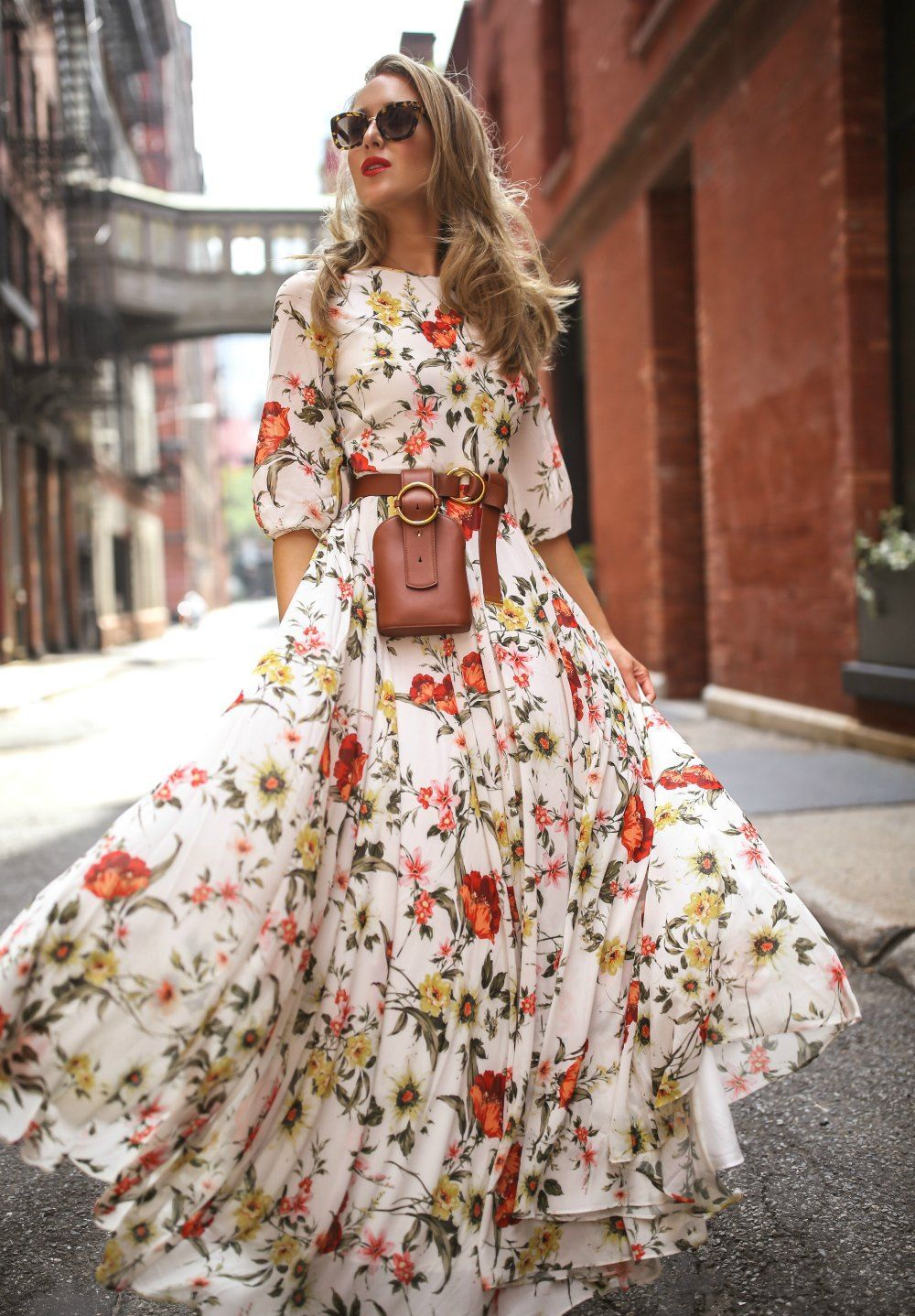Maxi Dresses Are A Lifestyle Choice Here S Why Floral Print Maxi Dress With 3 4 Sleeves Brown Leather Belt Maxi Dress With Sleeves Chiffon Fashion Fashion [ 1438 x 1000 Pixel ]
