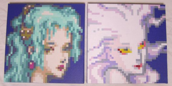 Human and Esper Pixel Painting by pixelartpaintings on Etsy, $180.00