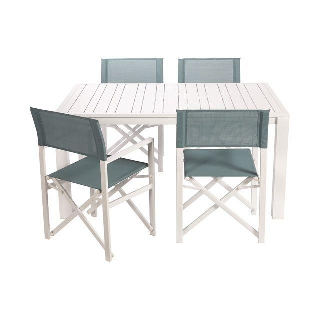 96447b31a9699f Table de jardin en aluminium Batang 200 x 100 cm blanc   MAISON ...