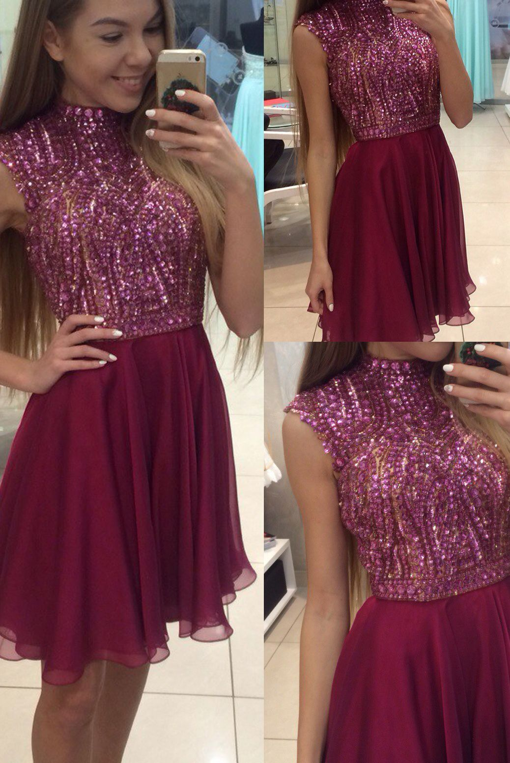 Burgundy homecoming dresshigh neck prom dress beading party dress