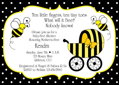 i like the saying at the top! bumble bee baby shower invitation, Baby shower invitations