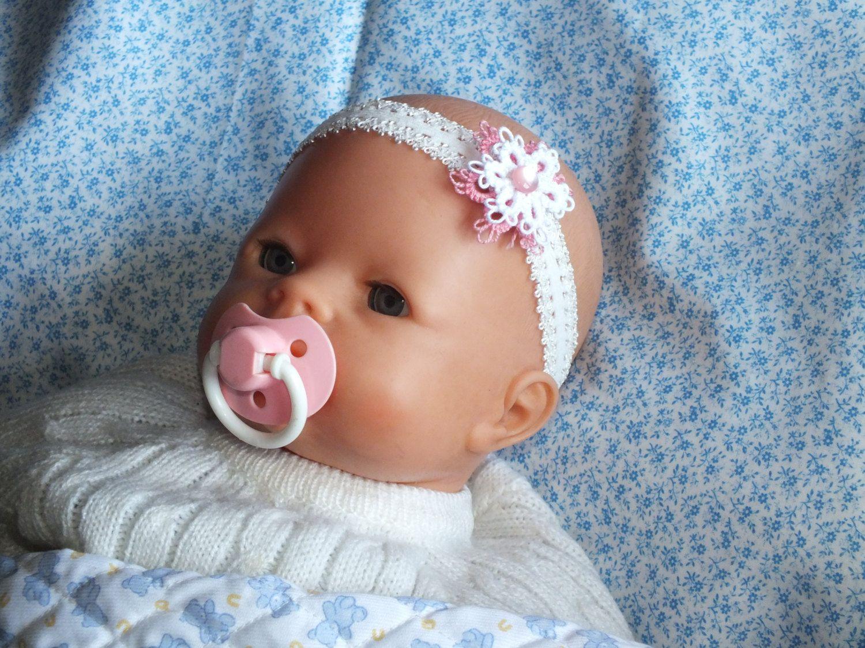 Baby flower headband newborn headband white pink lace