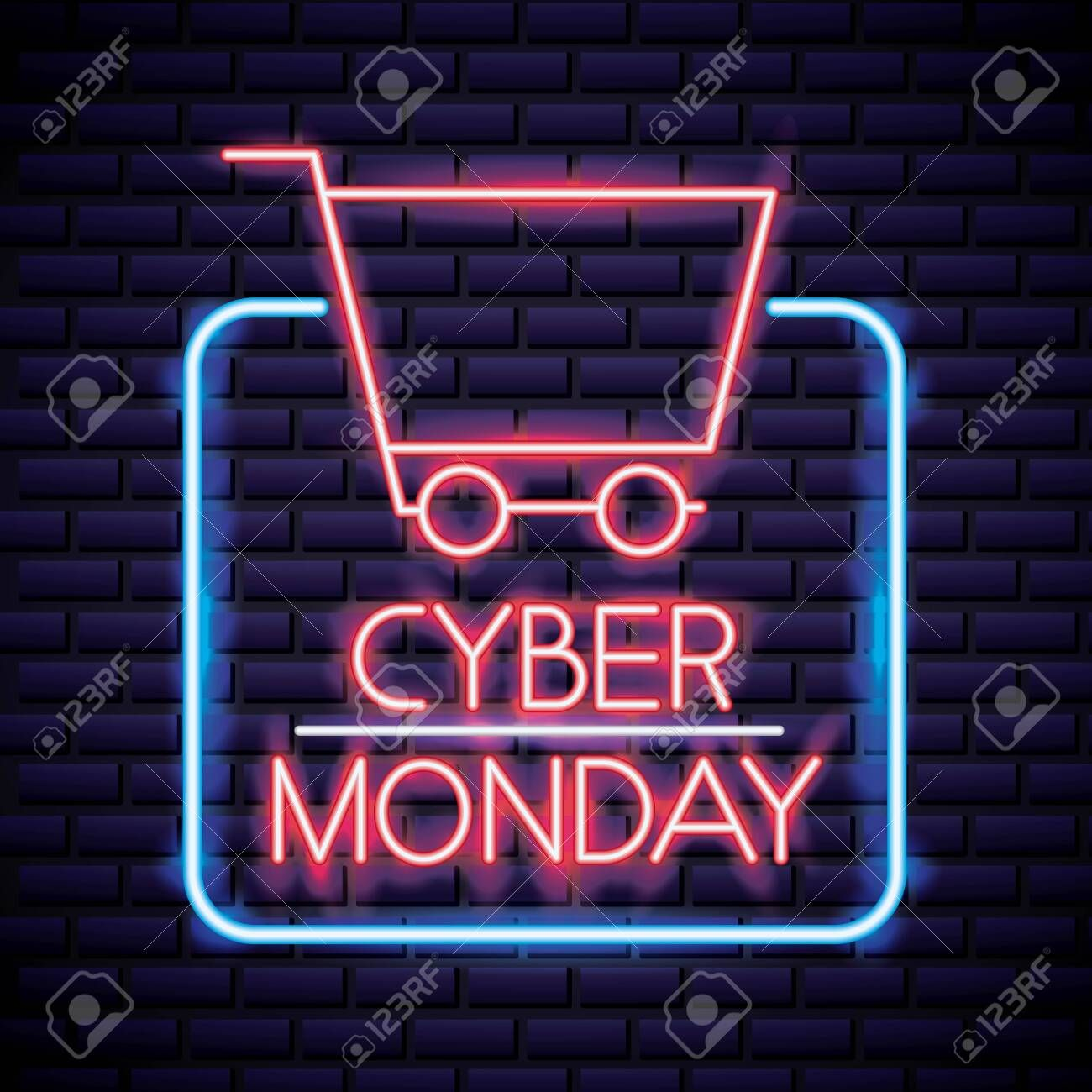 cyber monday frame shopping car neon style vector illustration , #ad, #frame, #s…