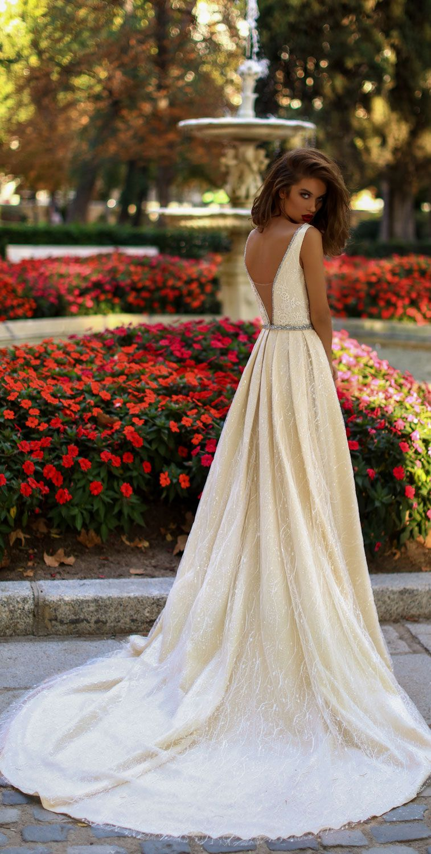 Victoria Soprano 2018 Wedding Dresses s sleeveless deep v plunging neckline simple a line wedding dress #wedding #weddingdress #weddinggown #bridedress