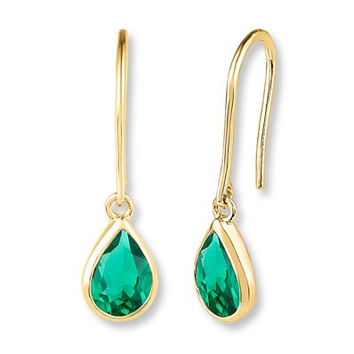 5d0312fa8b004 Lab-Created Emerald 10K Yellow Gold Drop Earrings in 2019 | Products ...