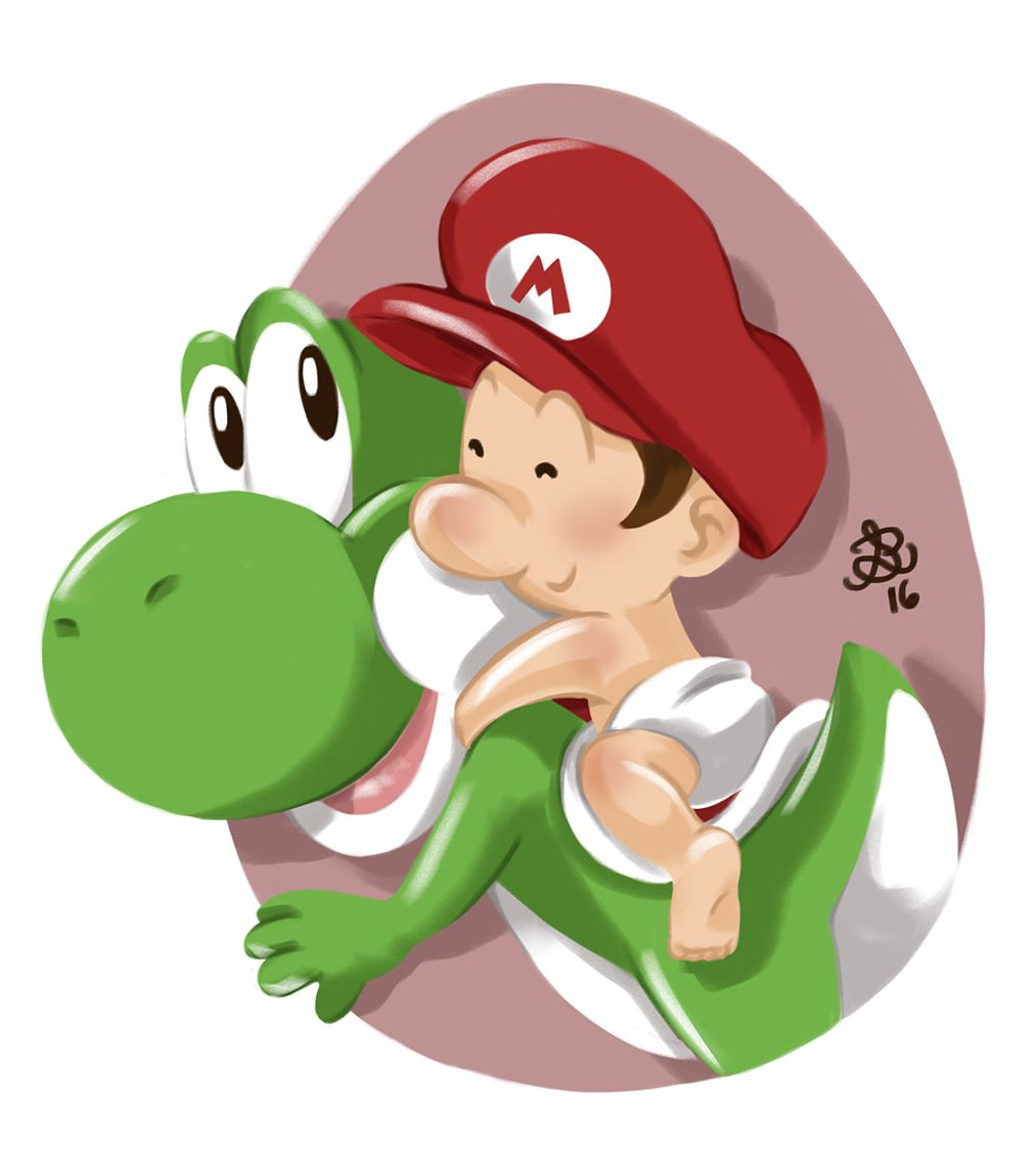 yoshi e baby mario  fanart  yoshi mario