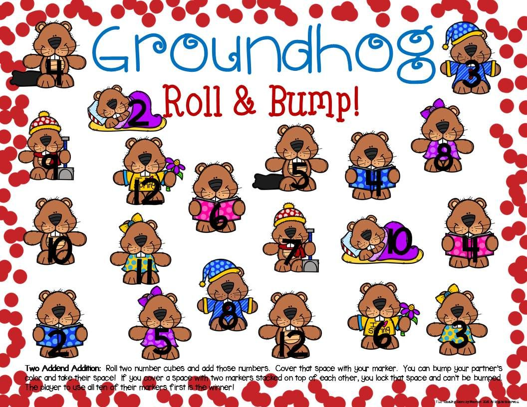 Groundhog Math Center Dice Games