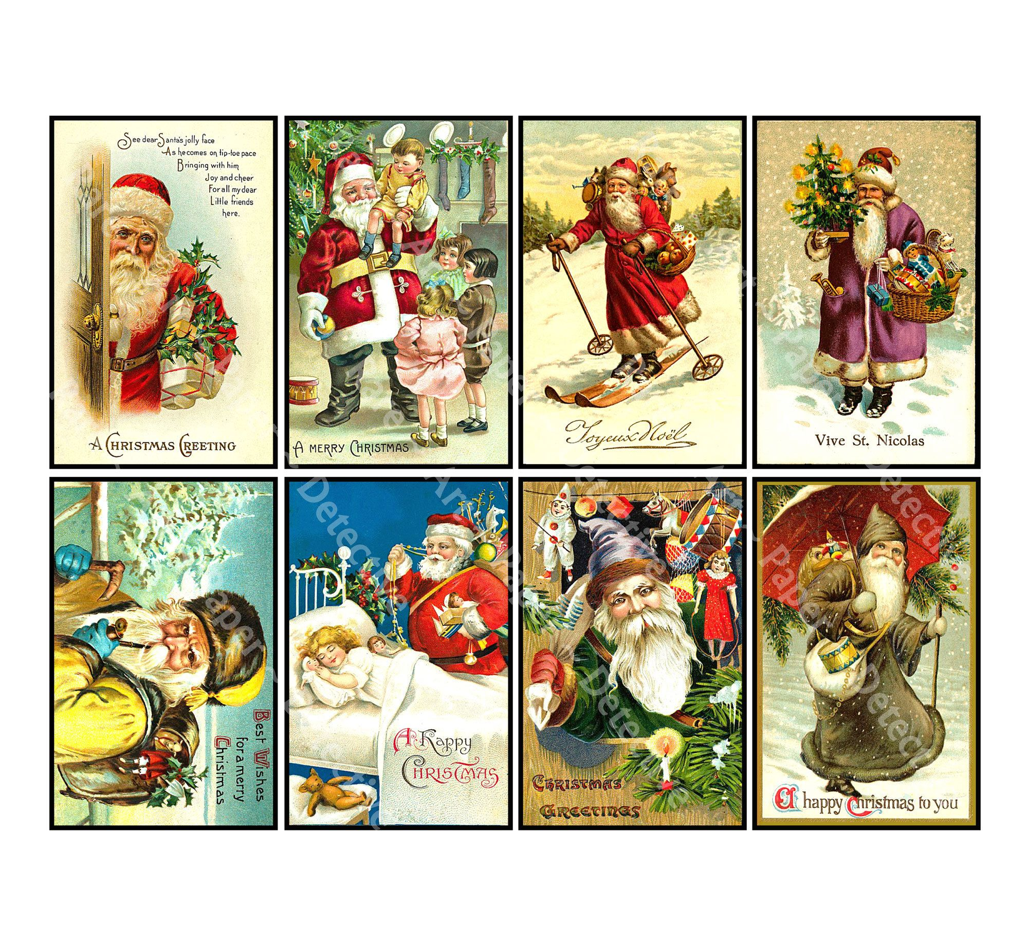 8 Pcs Christmas Stickers Deluxe Set Of Old Fashioned Etsy In 2020 Christmas Stickers Vintage Christmas Greeting Cards Sticker Photo Paper