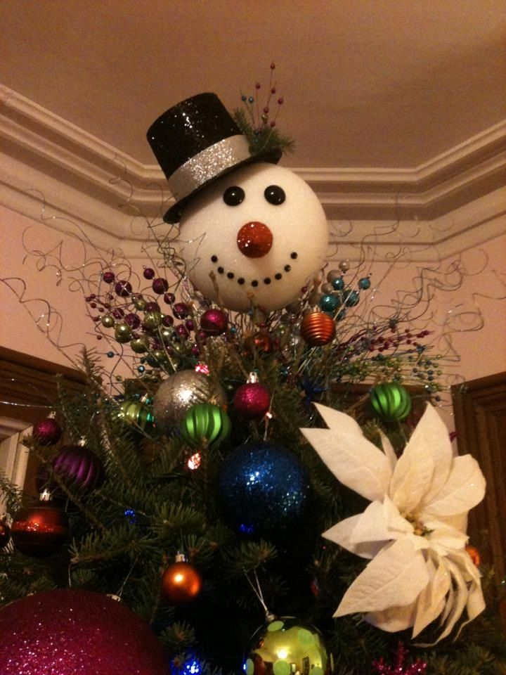 snowman christmas tree topper i made with a big styrofoam ball a cardboard hat from michaels a small styrofoam cone for the nose spray paint