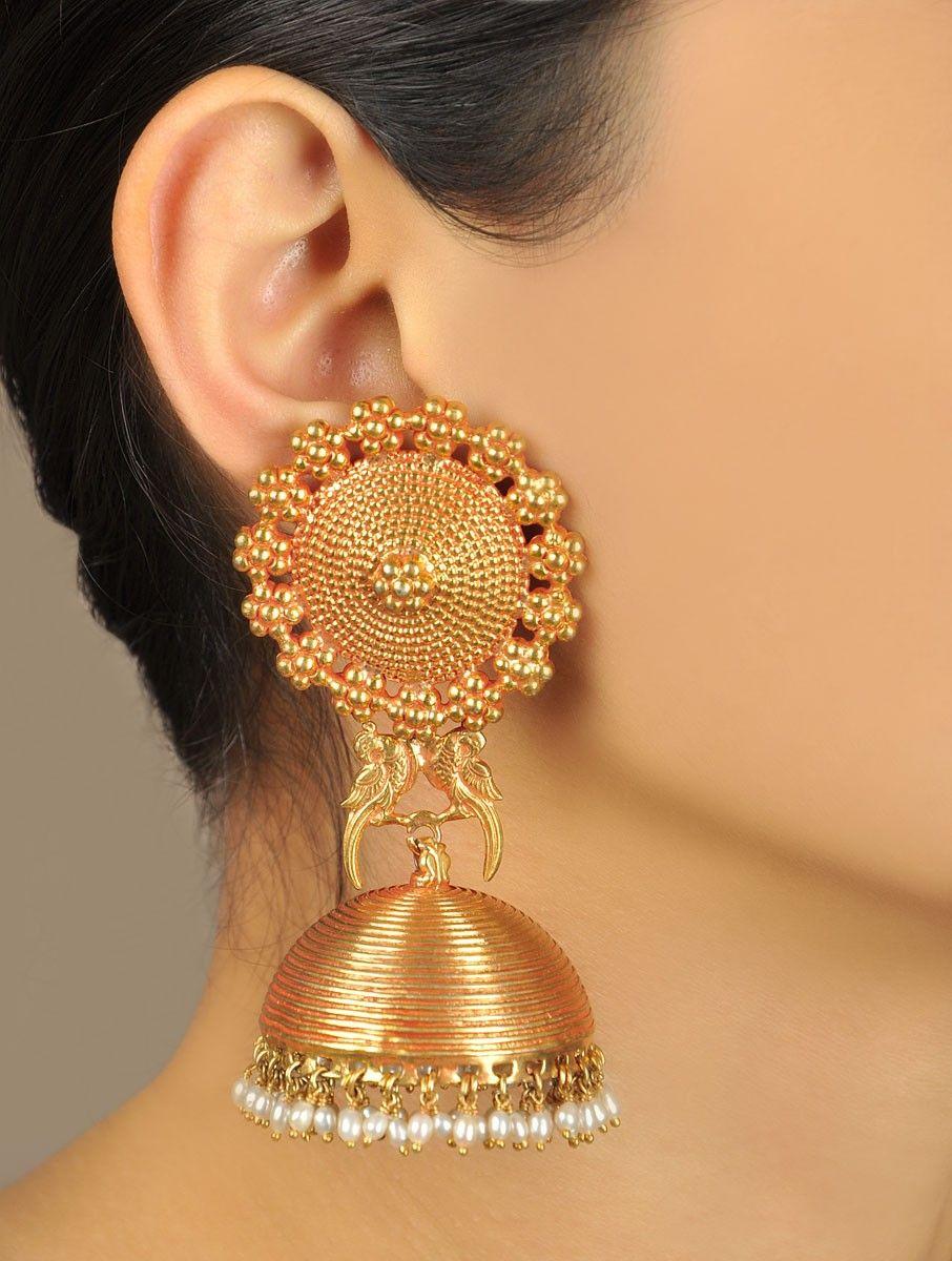 9bac48e20 Buy Golden Ivory Pakshi Temple Rose Gold Jhumka Earrings Plated Silver  Pearl Maker's Market Online at Jaypore.com