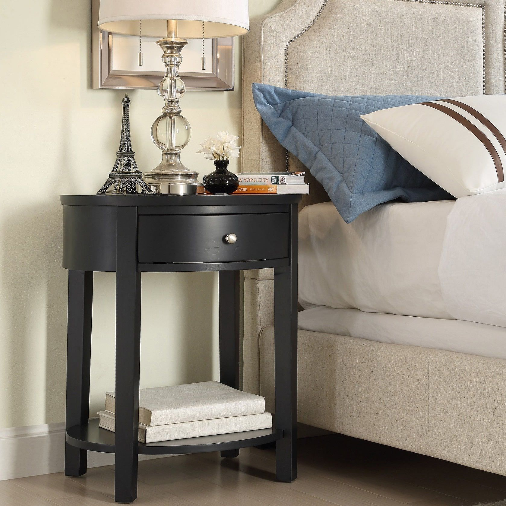 Inspire Q Fillmore 1-drawer Oval Wood Shelf Accent End Table (Twilight Blue)