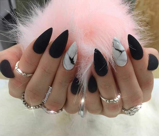 Matte Black Stiletto Nails White Marble Accent Nail