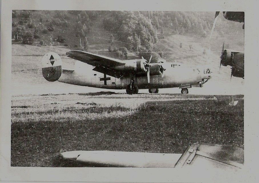 A captured  Liberator B24 with German cross and Swastika