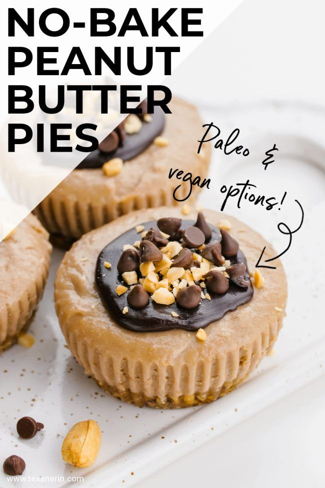 Vegan no-bake peanut butter pies are made a little healthier with the help of bananas, coconut milk and maple syrup. The bananas gives just the amount of creaminess and texture. Really, you have to just try them!