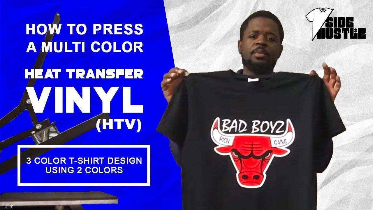 21b86b65 How To Press A Multi Color Heat Transfer Vinyl (HTV) Design [3 Color T-Shirt  Design Using 2 Colors] - YouTube