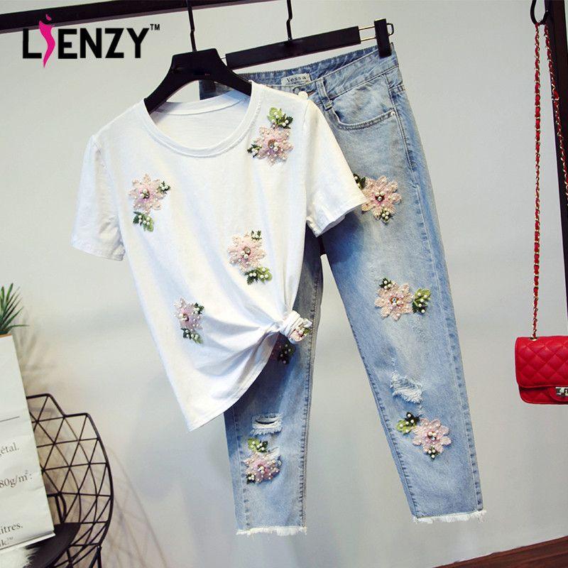6ee4e9168d LIENZY Summer Casual Women 2 Pieces Pant Set Pink Floral Diamond T ...