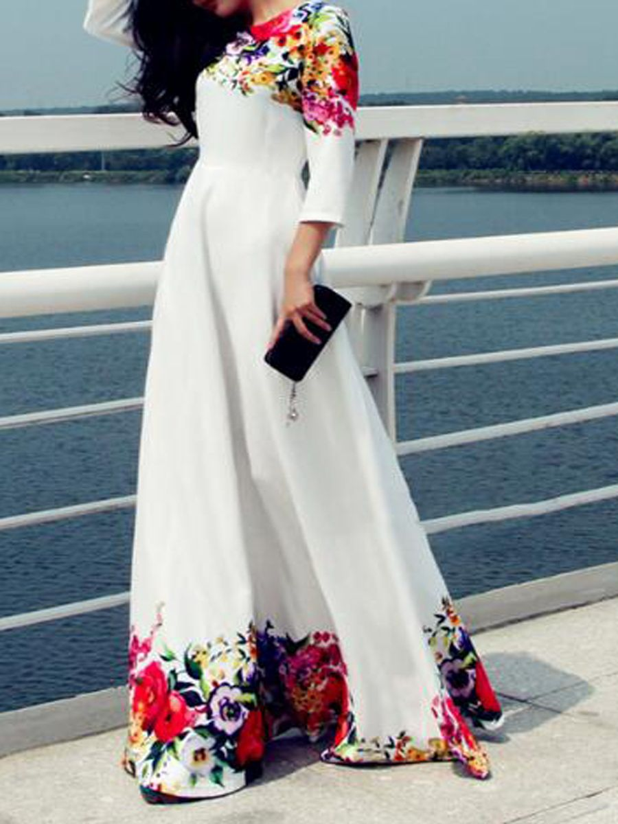 Round neck floral polyester evening dresses long dress pinterest