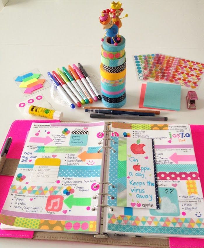 Colorful And Decorative Planner Page. Lots Of Washi And Stickers!