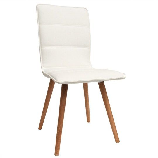 Oslo Pu Leather Dining Chair With Beech Timber Legs  White Awesome Beige Leather Dining Room Chairs Decorating Inspiration