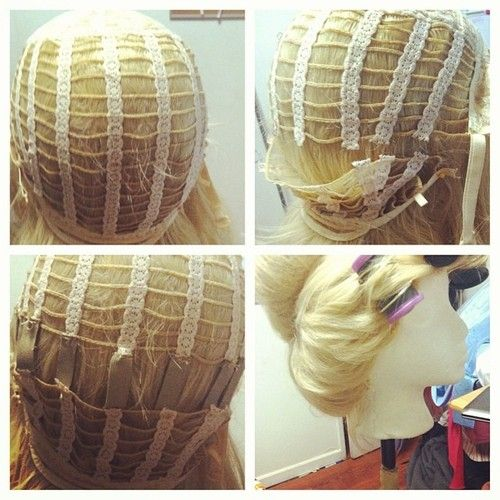 Mini tutorial! How to enlarge a too small wig cap! Works great for updo wigs!  1- turn wig inside out and pin to wig head 2- starting at th. cb000497c