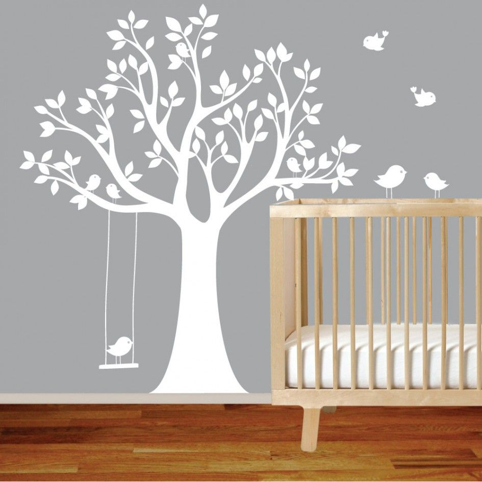 Baby Nursery White Vinyl Tree Wall Decal Bird With Swing Wall