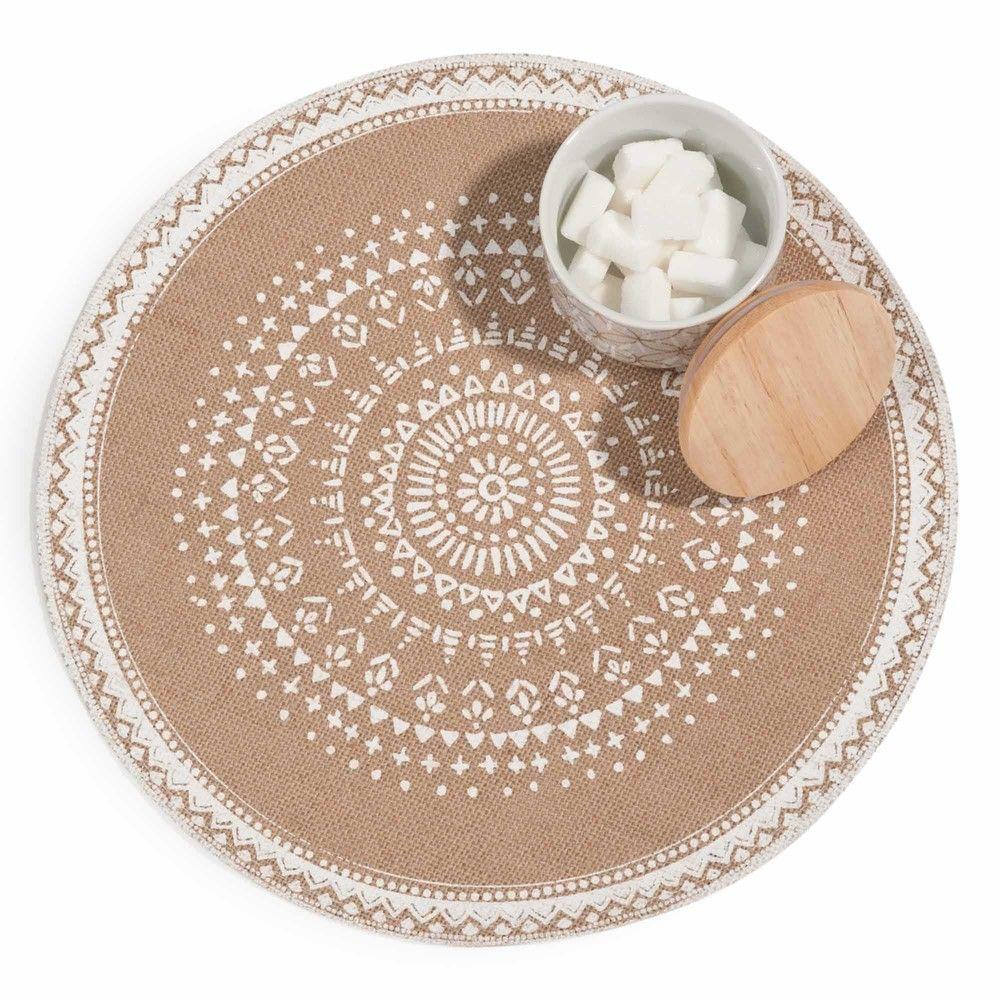 Set De Table Rond En Jute Imprime Blanc Table Linens Prints