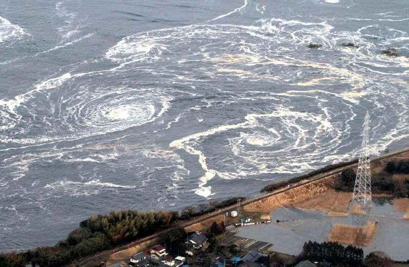 Whirlpools Are Seen Following A Tsunami And Earthquake In Iwaki