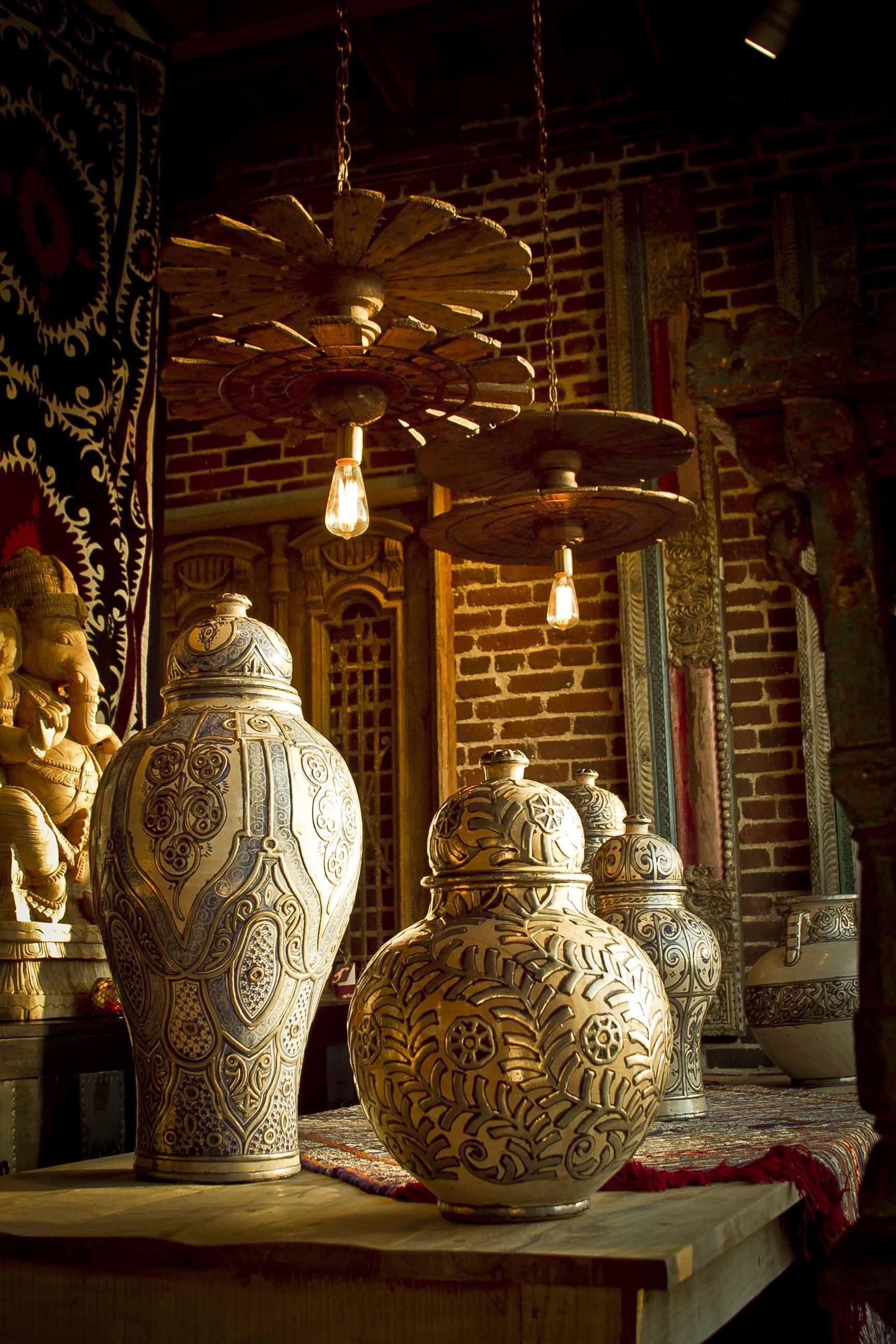 rustic vintage spindle lights, moroccan jars, wooden large ganesha