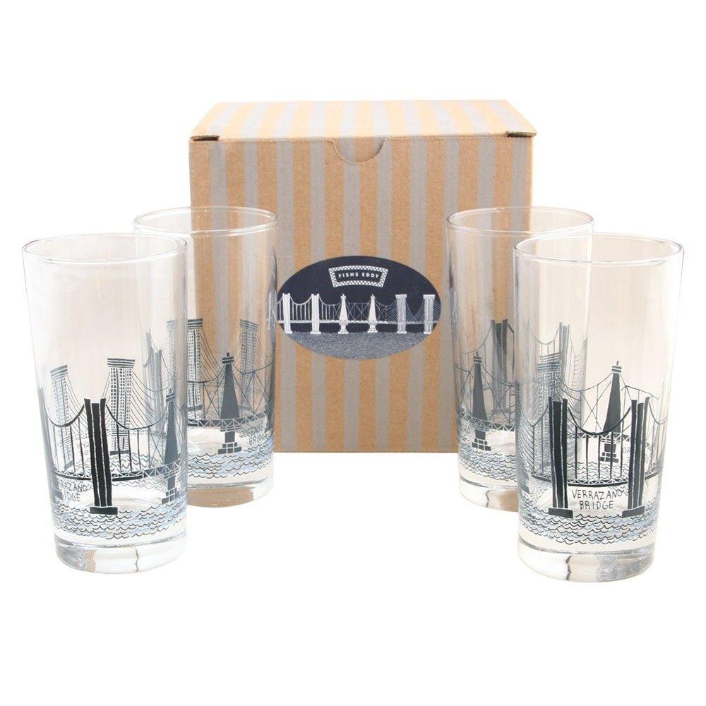 Bridge tunnel glasses gift box of 4 new york patterns