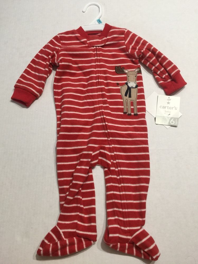 140a14229171 Carters Infant Boys All In One Sleeper Red Stripe Reindeer 6 Months ...