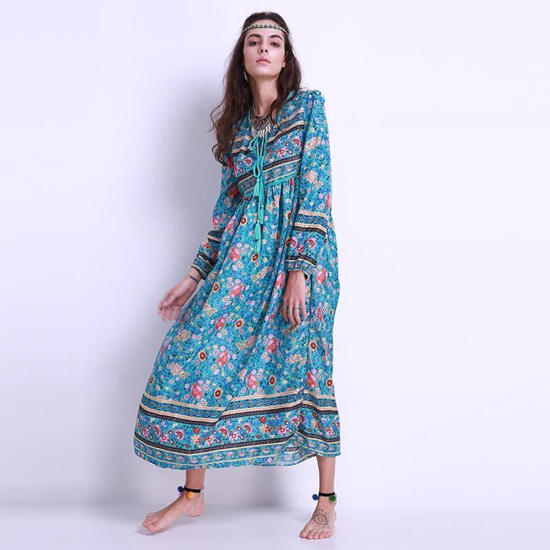 8dd3a8bda06 Gender  Women Sleeve Length(cm)  Full Style  Bohemian Neckline  V-Neck  Dresses Length  Ankle-Length Season  Summer Decoration  Bow Model Number   2017 Summer ...