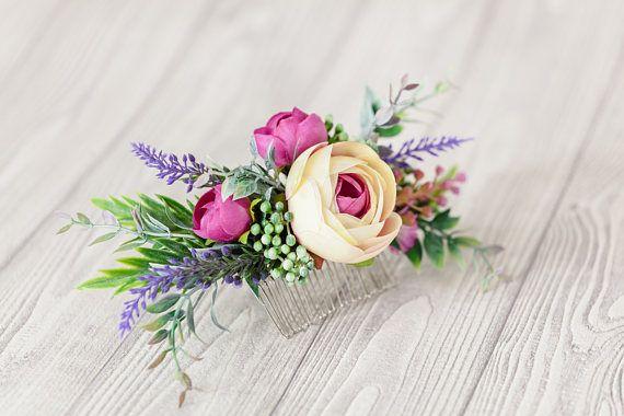 Bridal Hair Piece Lavender Wedding Hairpiece Purple Flower Hair Comb Pink Flower Comb Floral Hair Comb Boho Bridal Hair Pins Peony Hair Clip  This elegant  bridal hair piec... #haircomb #flowerhair #weddinghaircomb #bridalhairpiece #floralheadpiece #bridesmaidgift #bridesmaidhair #flowercomb #bridalhaircomb #weddingcomb #bridalhairflowers