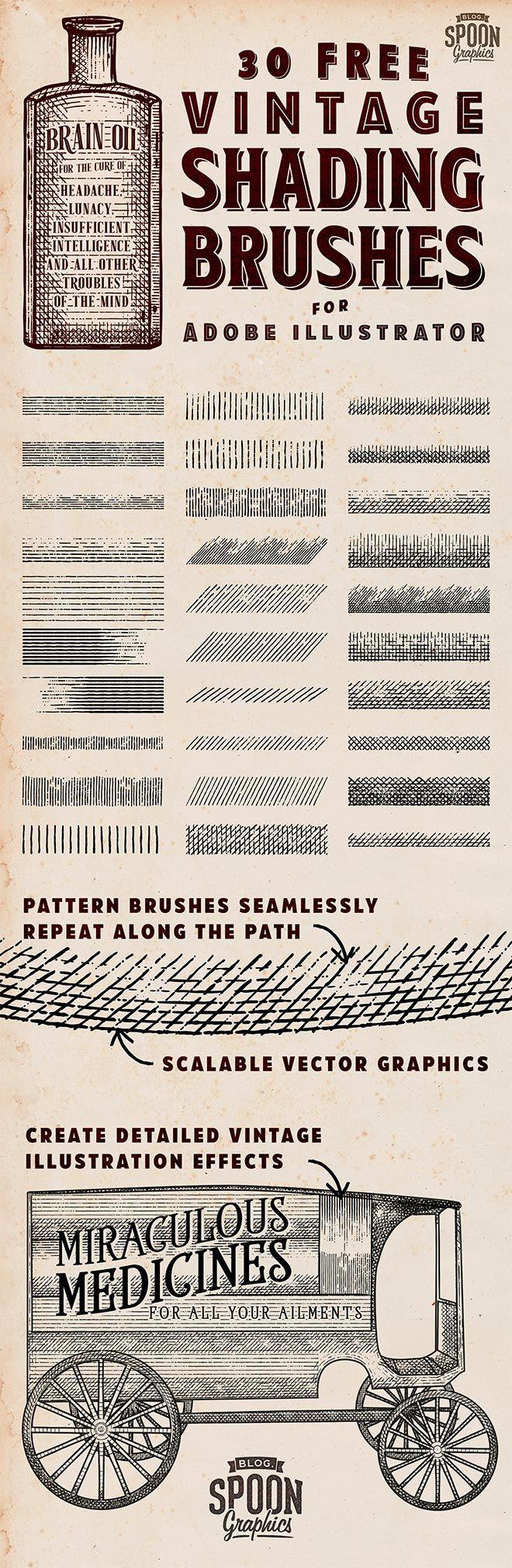 30 Free Vintage Shading Brushes For Adobe Illustrator Kresleni