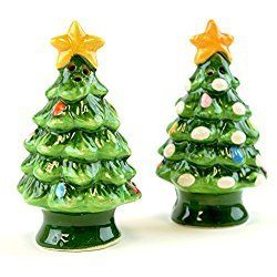 Christmas Is Forever Ceramic Tree Salt And Pepper Shaker Set