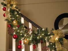 Christmas Garland With Lights For Stairs Google Search