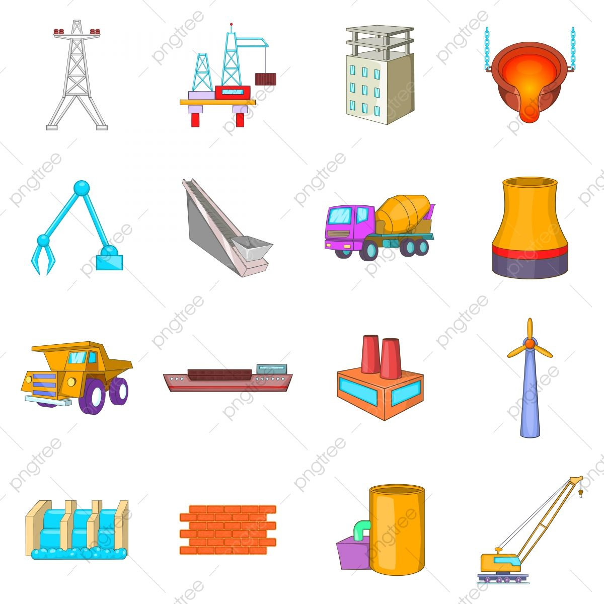 Industry Icons Set Cartoon Style, Style Icons, Cartoon