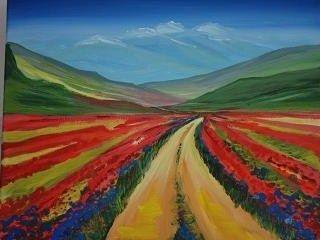 Kleurperspectief door het gebruik van warme kleuren op de voorgrond en koude kleuren op de - Koude en warme kleur ...