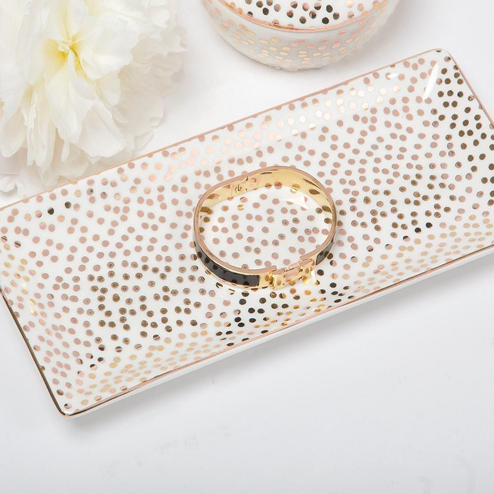 Rectangular 'Smudge Dot' Trinket Tray Rose Gold is part of Gold Home Accents Master Bath -  Imported 9 1  x 4 3  Porcelain