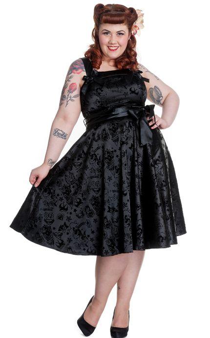 Hell Bunny Tattoo Flock Black Plus Size Dress 50s Style Dress