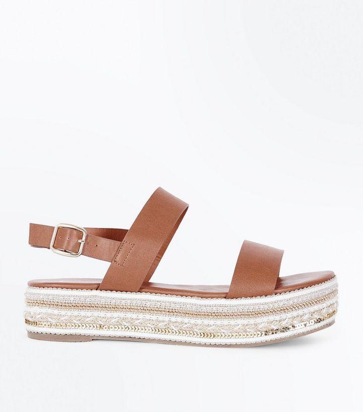 Tan Sequin and Gem Embellished Flatform Sandals   Gems, Sequins and Sandals