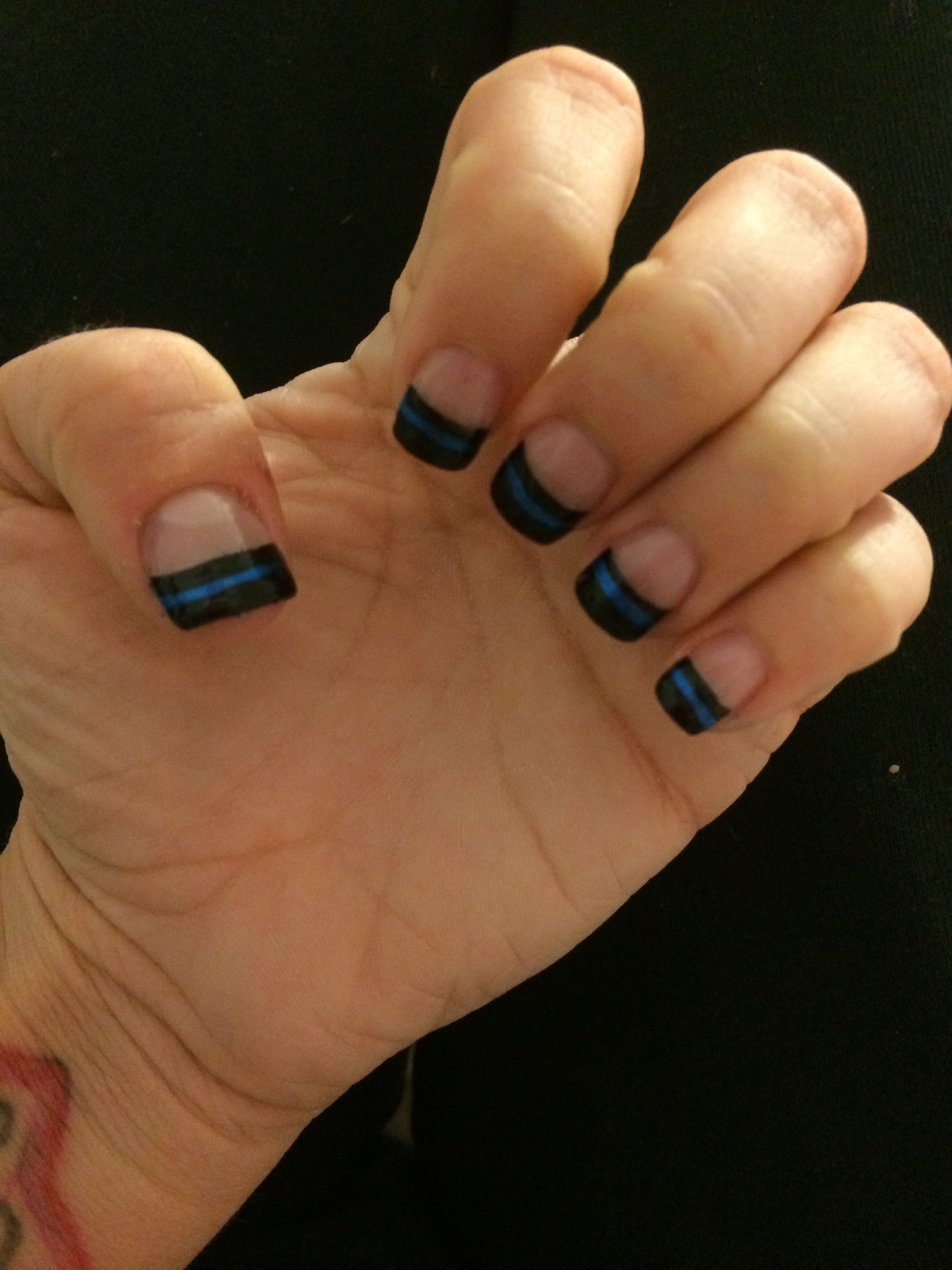 Thin blue line nail design in support of my amazing LEO | LEOW\'s ...