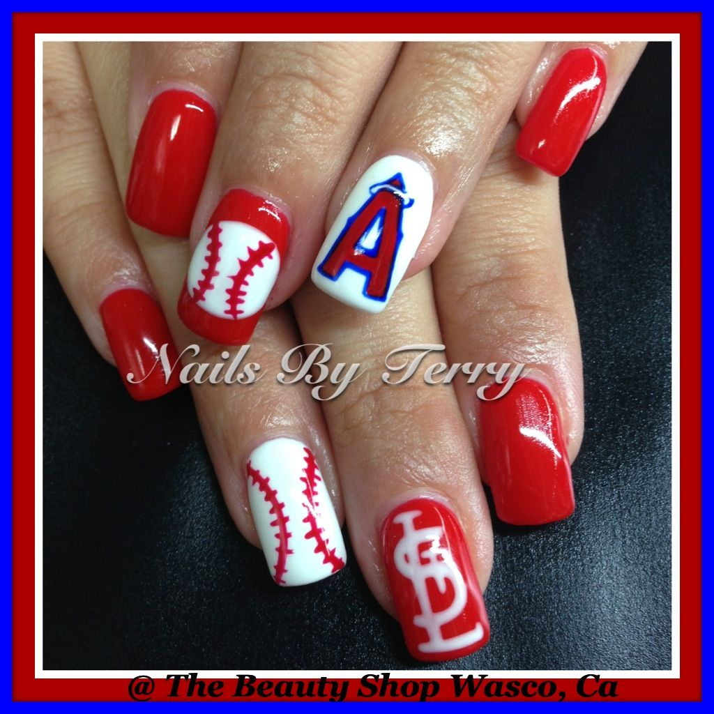 Angels and St. Louis baseball nails, gel nails | Sport nail art by ...