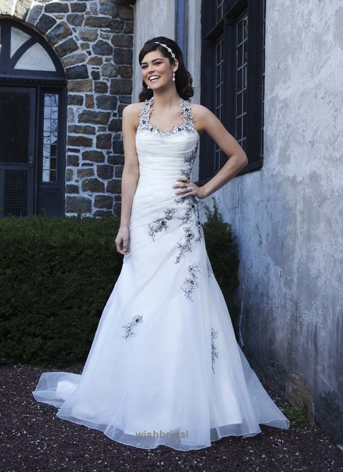Traditional A-line Organza and Lace Wedding Dress with Black Accent ...