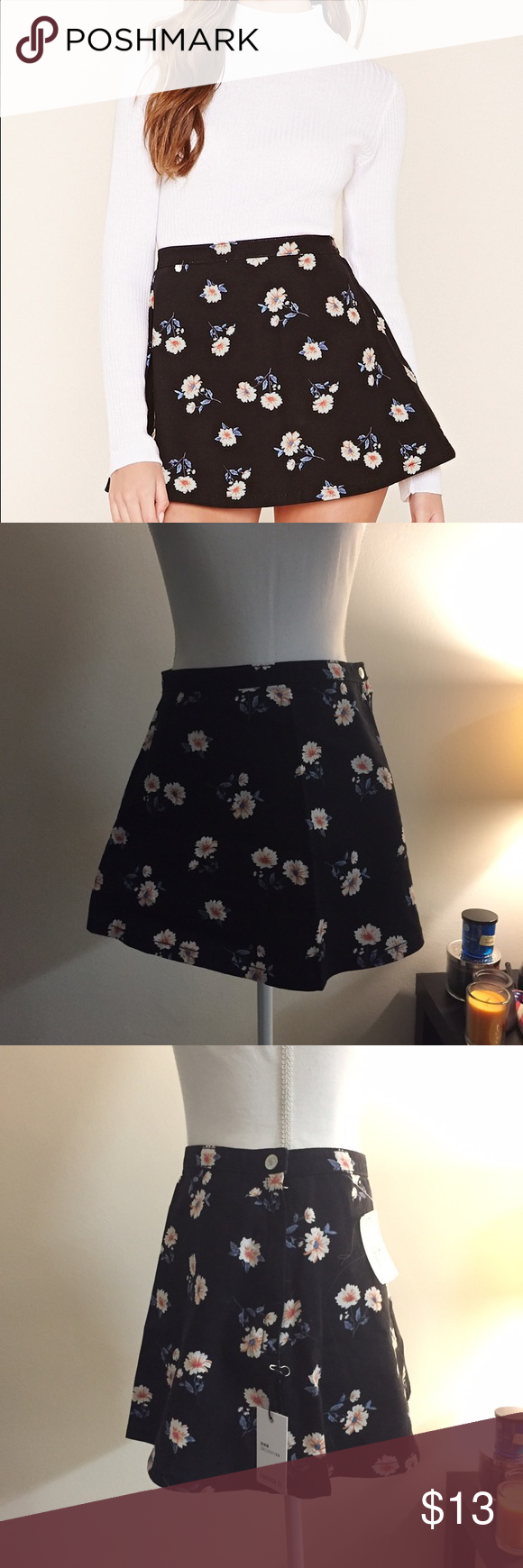 Black denim floral mini skirt Details A Mini Skirt Crafted From Denim With An Allover Floral Pattern And An Invisible Side Zipper With A Matte Button At The Waist. Content + Care - 100% Cotton  - Machine Wash Cold  - Made In China Forever 21 Skirts Mini