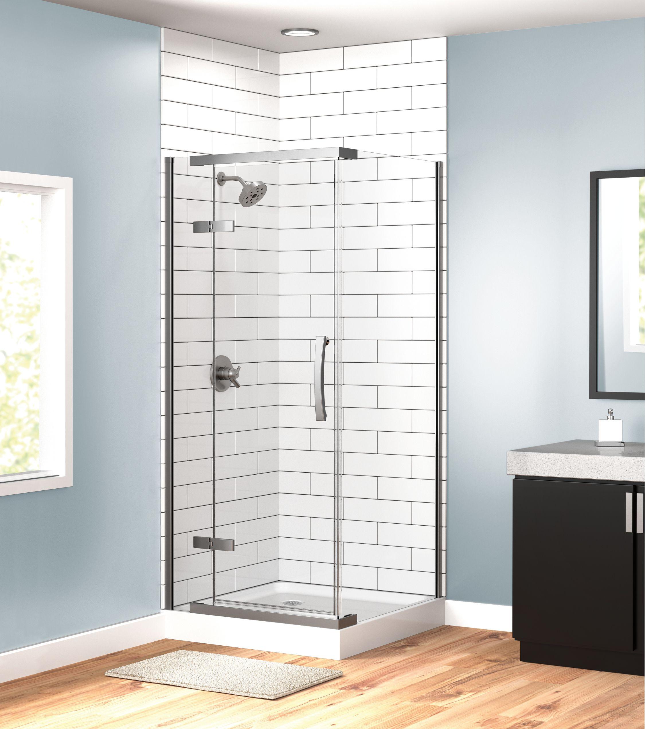 White subway tile bathroom shower, subtle blue paint, black cabinets ...