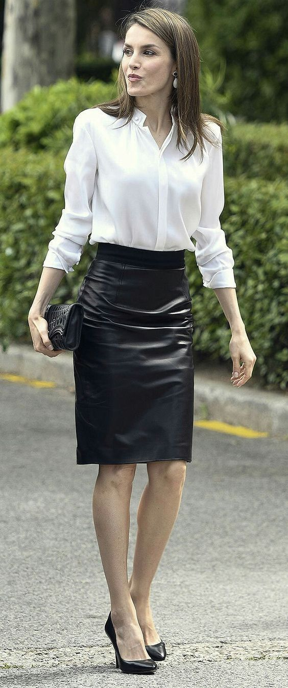 Mature leather skirt