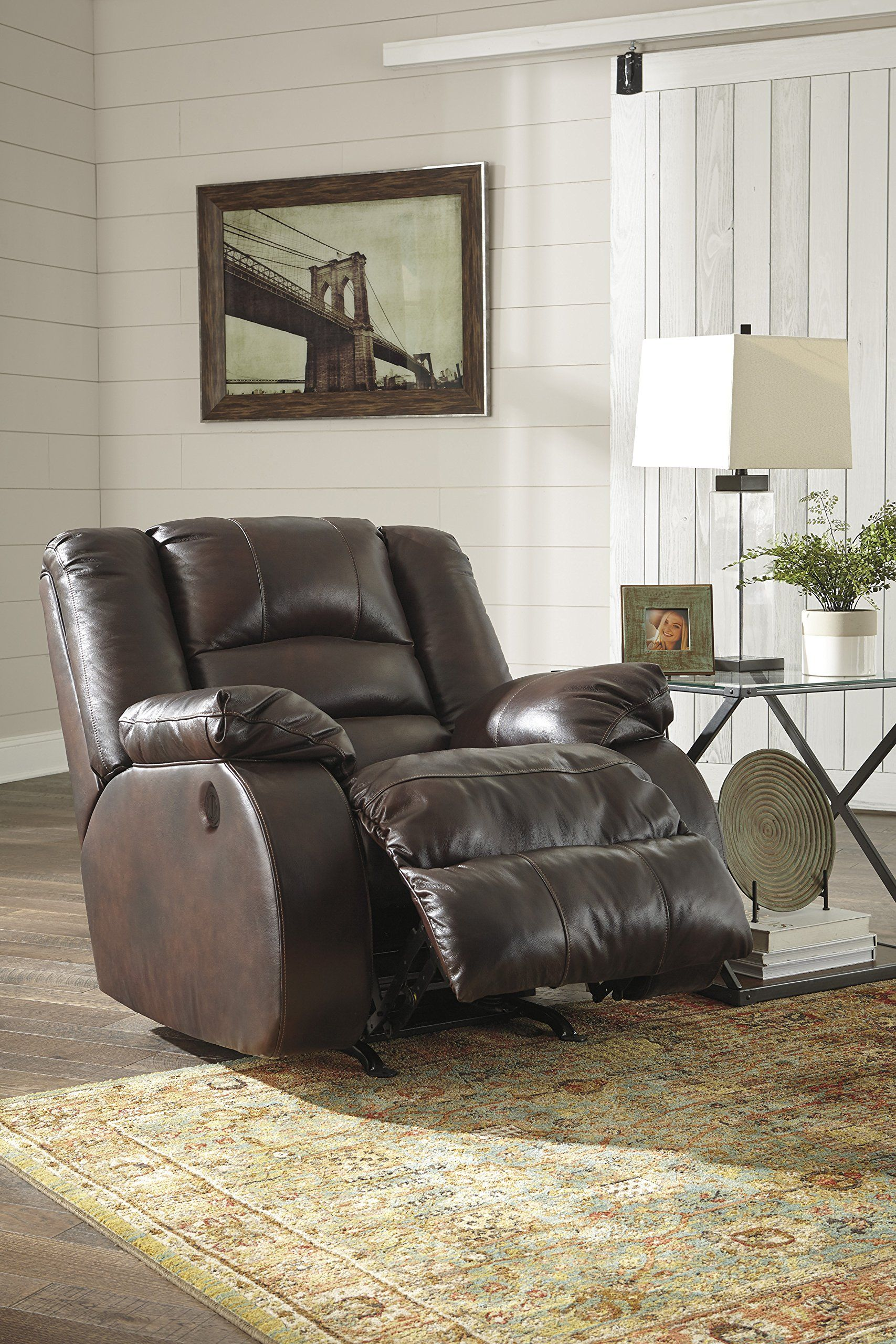 Levelland Contemporary Cafe Color Leather Reclining Power