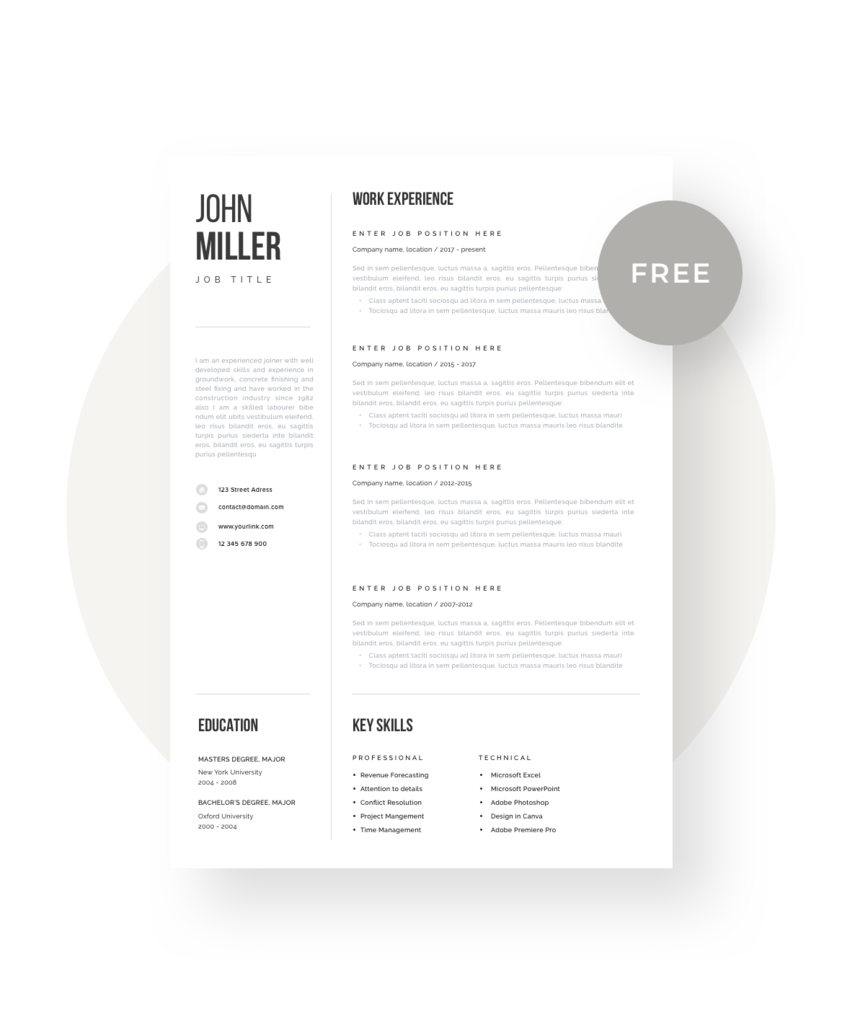 Free Resume Template Modern Resume Template Cv Template